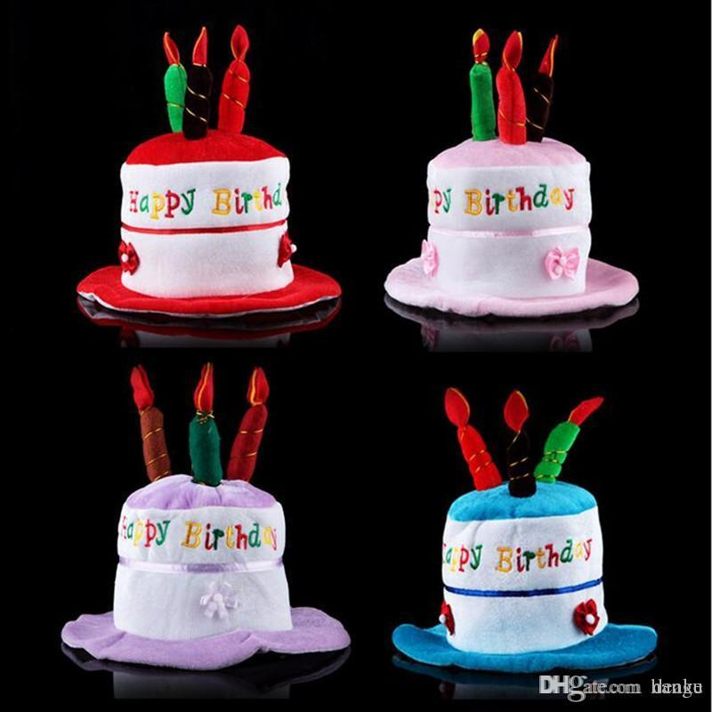 Wholesale Creative Children Birthday Cake Hat Cute Candles Caps Adults Head Wear Party Decorations First And Tie