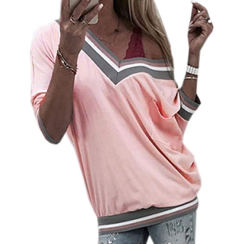 5fb74b876cd0b 2018 Deep V Neck Patchwork Tops Women Long Sleeve Pocket Tshirts Tops Loose  Sexy Off Shoulder Autumn Tee Shirts Plus Size GV210 Printing Of T Shirt All  That ...