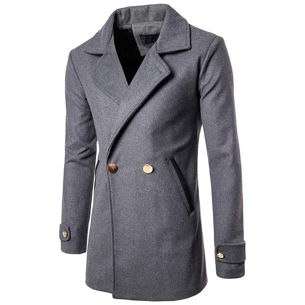 3fa89c286 Men Autumn Winter Warm Windbreaker Jacket Overcoat Outwear Slim Long Trench  Buttons Woolen Coat Men #g8 Cool Mens Coats Jacket And Coat From Stepheen,  ...