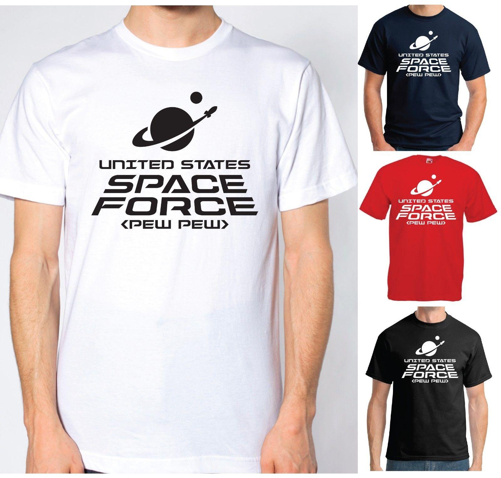 03d7077a9d United States Space Force T Shirt Pew Pew Funny Sci Fi USA Trump Pence  Unisex Funny Gift Casual Tee It T Shirts Humor T Shirts From Lukehappy12,  ...