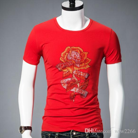 Мужская с коротким рукавом лето личность горячая Алмаз печати Половина рукава тонкий цветок футболка рукав футболки мужская
