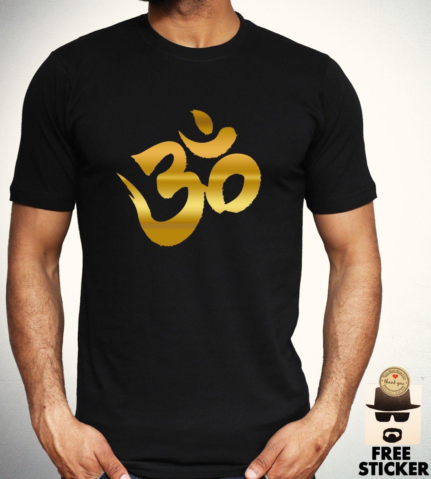 Ohm Gold Print T Shirt Meditation Relaxation Yoga Tee Hinduism Mens
