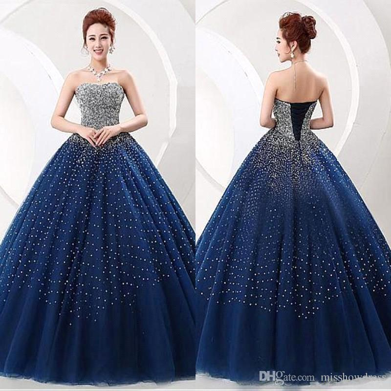 d9814535a53 Strapless Tulle Major Beaded Quinceanera Dresses Navy Blue Stones Ball Gowns  Floor Length Prom Party Princess Dresses With Lace Up Back BA65 Cute 15  Dresses ...