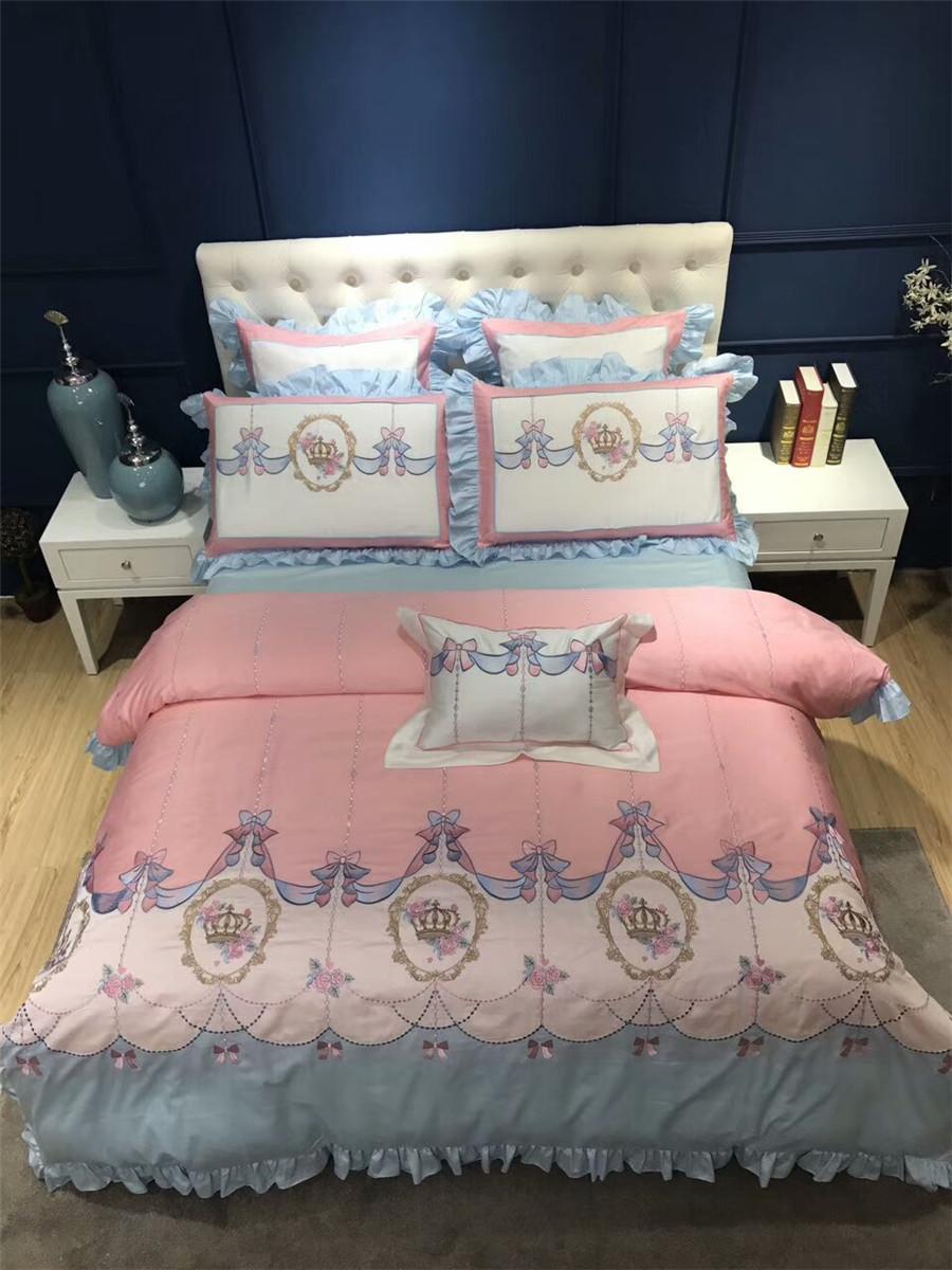 Großhandel Prinzessin Rosa Stil Mädchen Bettwäsche Sets Luxus
