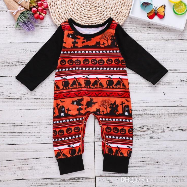 7f34f05d9 INS Halloween Baby Boys Romper Wacky Pumpkin Long Sleeve Kids ...