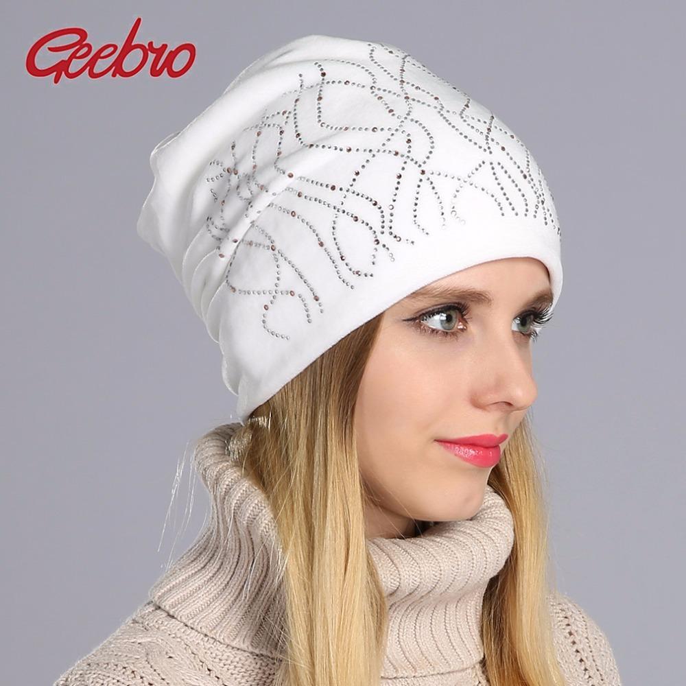 Geebro Brand New Women S Beanie Hat Casual Knitted Beanie For Women Shine  Rhinestones Beanies Balaclava Bonnet Cap Female GS062 Fur Hats Baby Beanies  From ... 0bbe3bd6ce