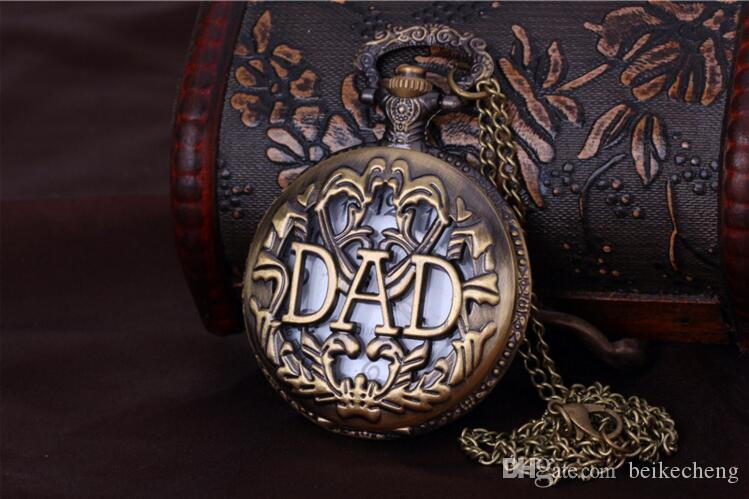 Wholesale Antique Bronze Dad Pattern Quartz Pocket Watch with Necklace Fob Watch Father's Day Gift PW039
