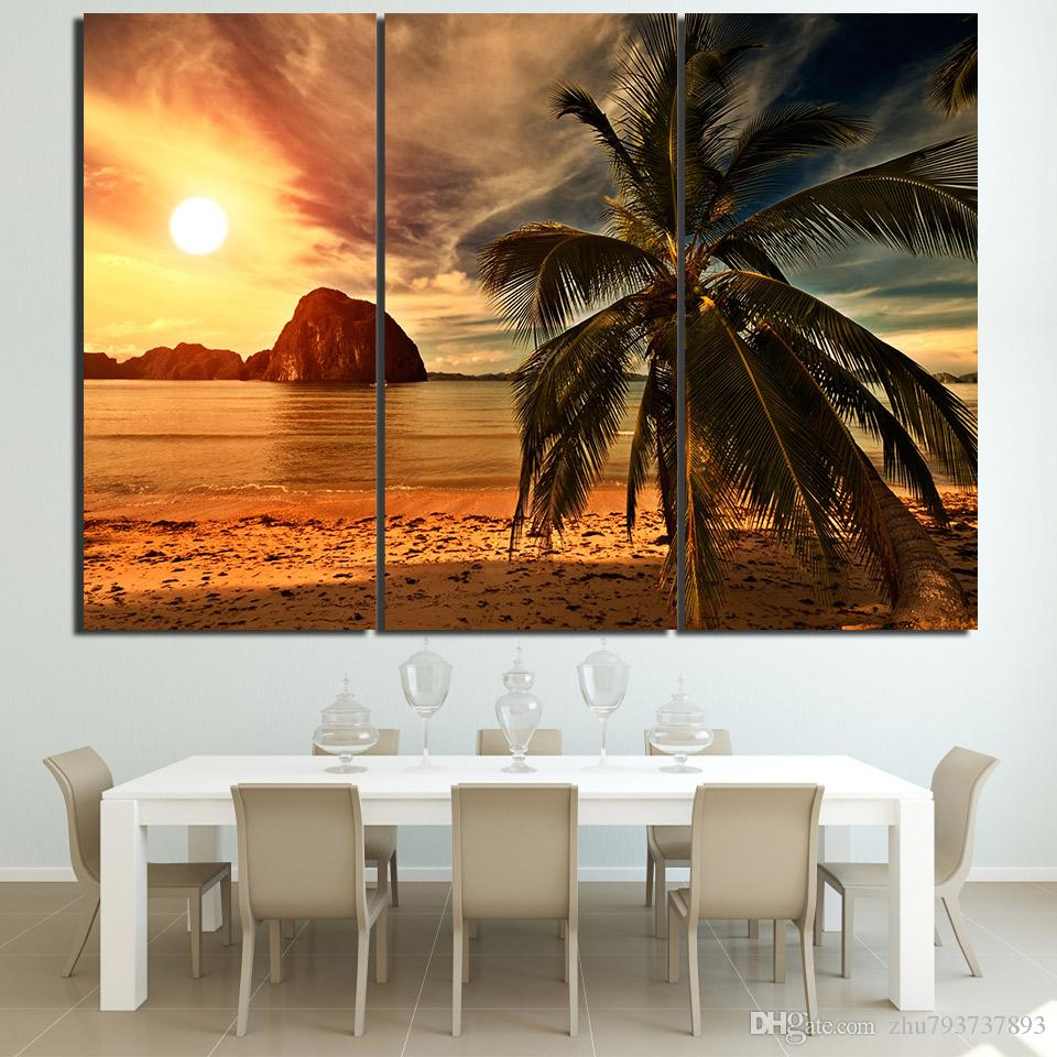 Poster HD Prints Wall Art Modular Canvas 3 Pieces Abstract Pictures Sunset Beach Coconut Trees Paintings Home Decor Framework