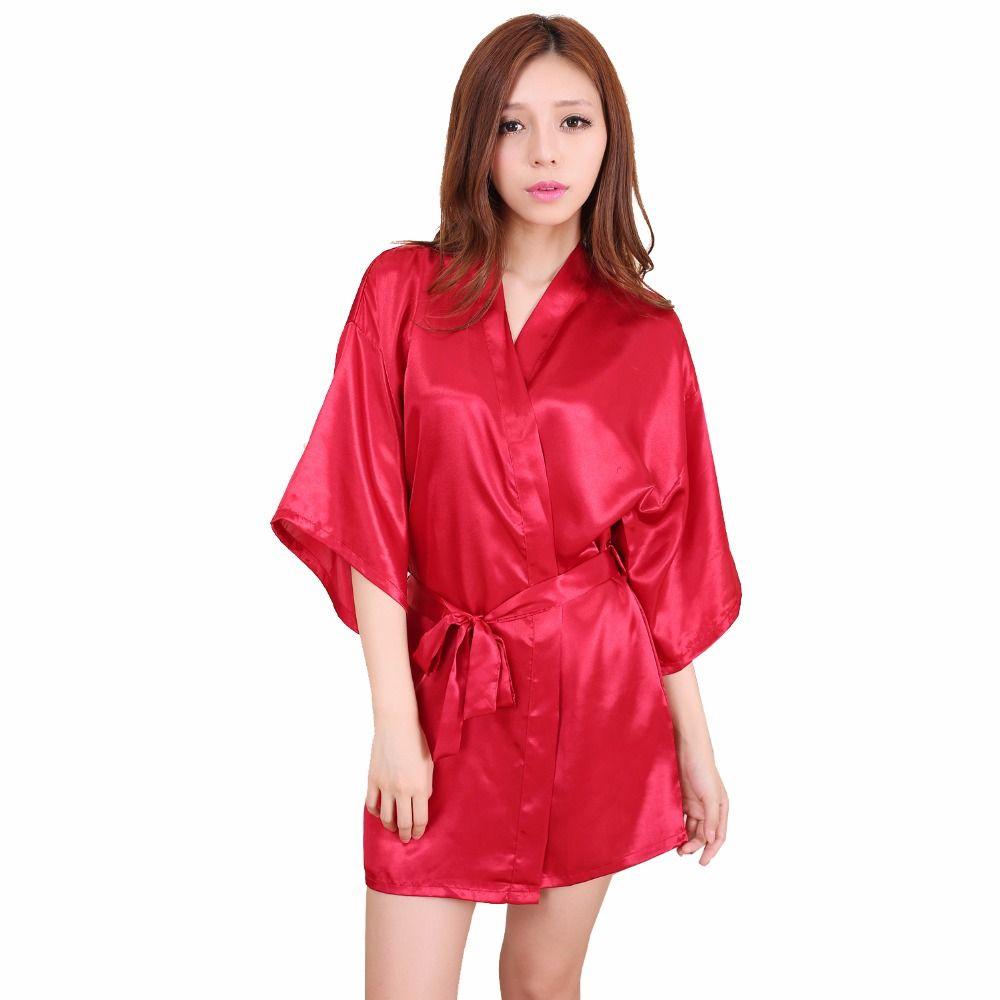568b22db2a0 New Arrival Red Women Silk Rayon Mini Robe Dress Kimono Yukata Bath ...