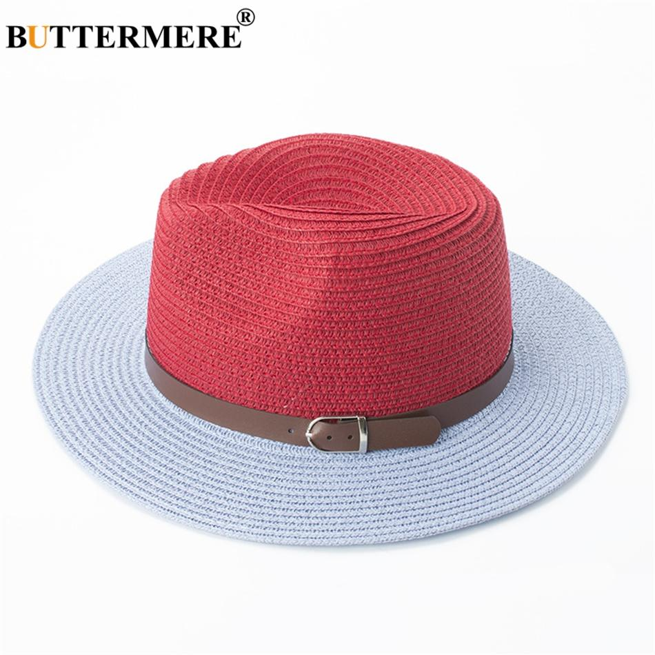 9a9bbacb0 BUTTERMERE Panama Hat Women Red Fashion Designer Summer Straw Hats Fedora  Female Contrast Color Spring Beach Sun Hat With Belt
