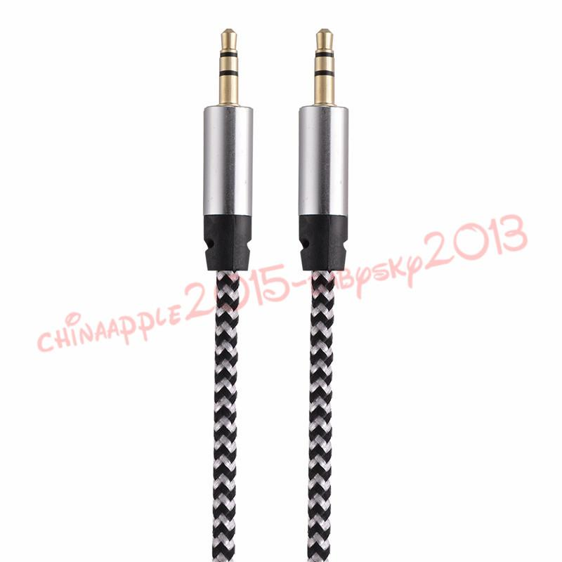 Aux Audio Cable Nylon Braided 3ft 1M wired Auxiliary Stereo Jack 3.5mm Male Lead for Apple and Andrio Mobile Phone Speaker