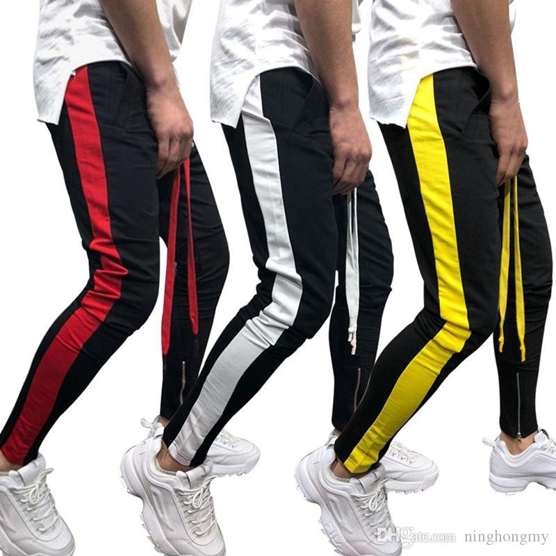 Compre Pantalones Casuales De Los Hombres 2018 Moda Hombres De La Raya  Lateral Cordón Hip Hop Chándal Hombre Streetwear Skinny Jogger SweatPants A   19.4 Del ... 6e65153d47a