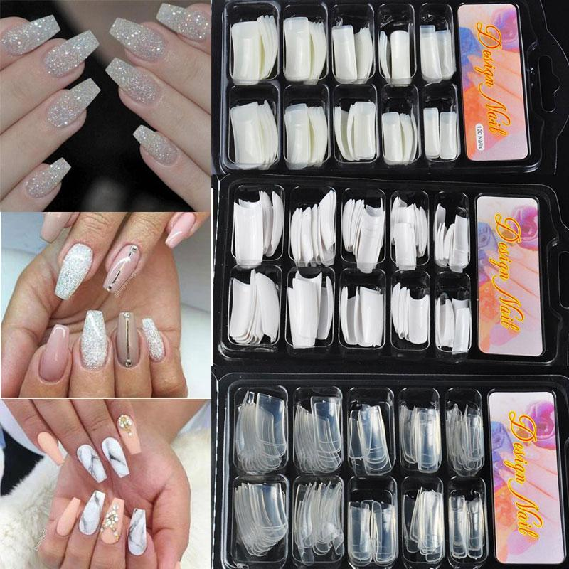 100Pcs Ballerina Shape False Nails Tips Polish Gel Artificial French Fake Nail Art Salon Decorated Display Transparent Fake Nail