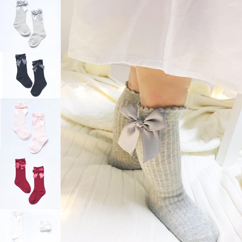 5b1bffd980651 Newborn Baby Girl Socks Knee High Bows Princess Kids Socks Cute Baby Long  Tube Booties Vertical Striped Sock Crew Socks Fun Socks From Qwinner, ...