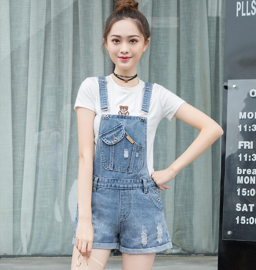 c67850cd3cb 2019 2018 New Summer Hole Denim Jumpsuit Romper For Women Denim Coverall  Playsuit Short Jeans Female Jeans Overalls S1792 From Freea