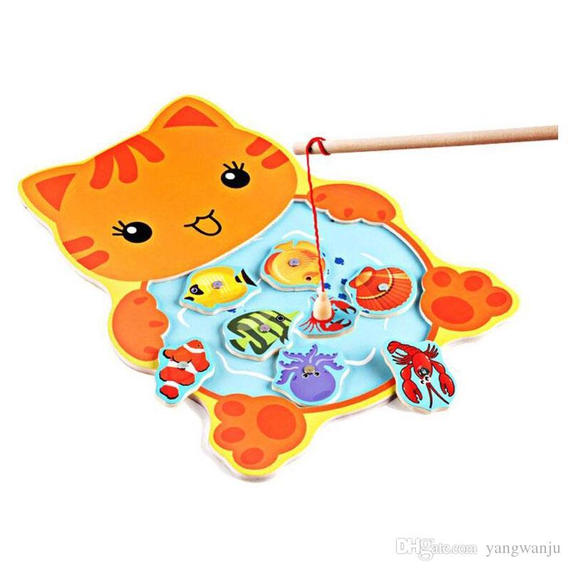 1 pezzo di giocattoli in legno bambini gioco di pesca magnetico Jigsaw Puzzle 3D Puzzle bambini Istruzione giocattolo bambini