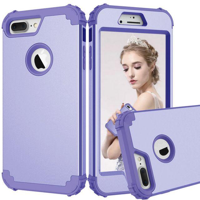 Pour iPhone 8 7 Plus cas de téléphone, PC dur + Silicone souple 3 couches hybrides Full-Body Protect Coques de téléphone populaires pour iPhone8 couvertures