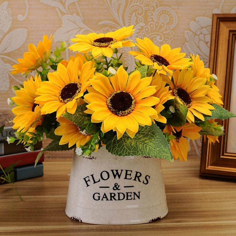 Sunflower Home Decor: 2019 Sweet Artificial Sunflowers 1 Bunch 7 Heads Sunflower