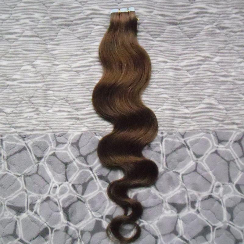 اللون # 4 بني داكن 40 قطعة لكل حزمة بو الشريط في 100 ٪ ريمي شعرة الإنسان الشعر الشريط 100G موجة الجسم الشريط في الشعر البشري