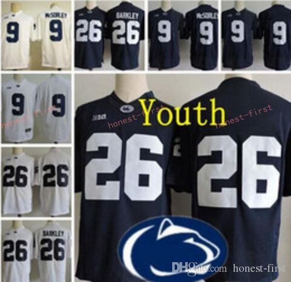 e741ddf05 2019 Youth Penn State Nittany Lions  9 Trace McSorley 26 Saquon Barkley Kids  Big Ten Penn State Navy Blue White Stitched College Football Jerseys From  ...