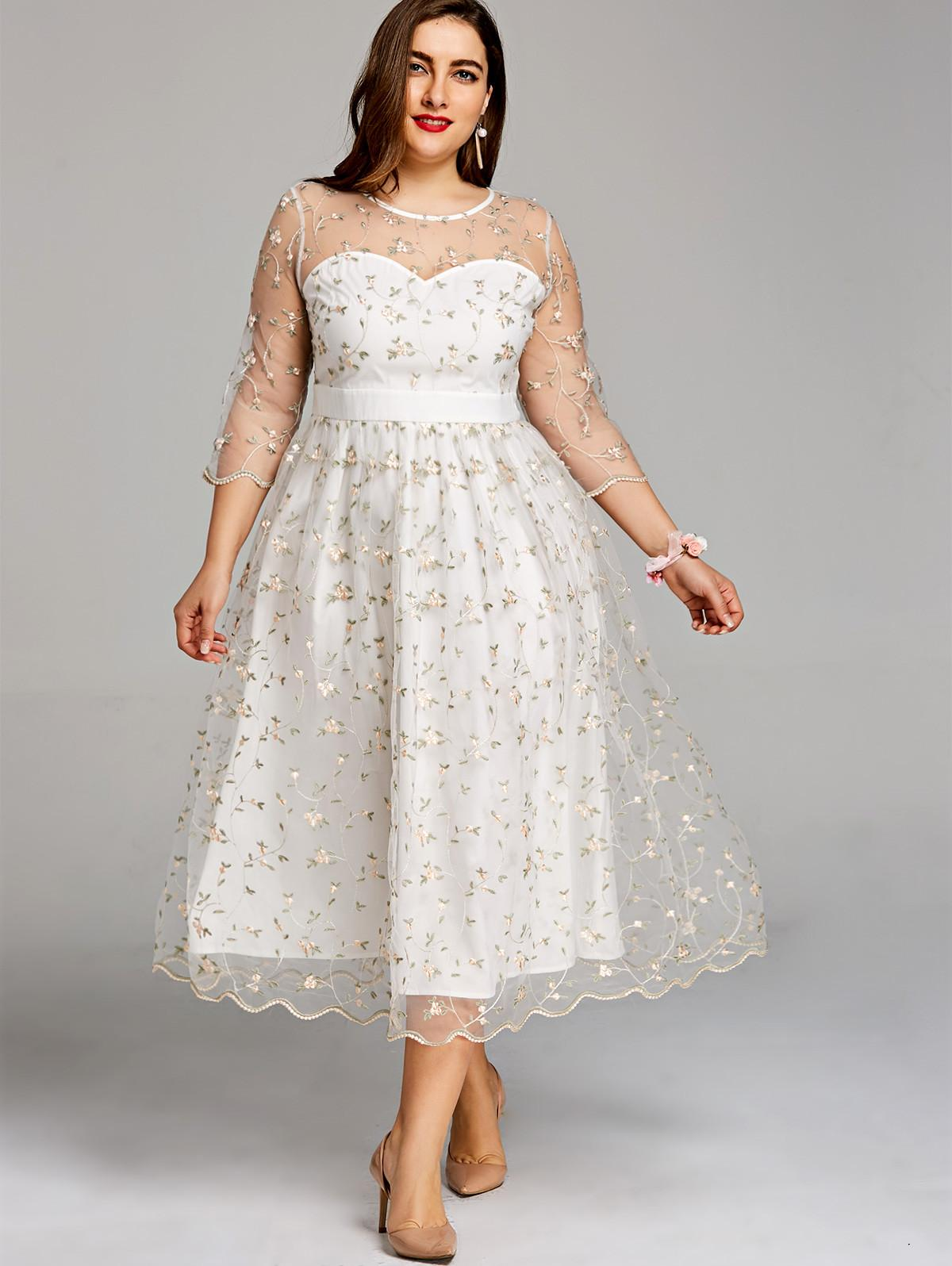 Women Party Dress Plus Size 5xl Embroidery Floral Midi Tulle Dress  Scalloped Edges Elegant O Neck A -Line Dresses