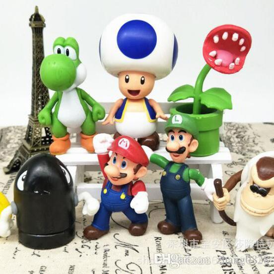 Super Mario Bros 8cm Mario Luigi Mushroom Toad Princess Action Figure Super Mario yoshi PVC Gift Toys For Kid