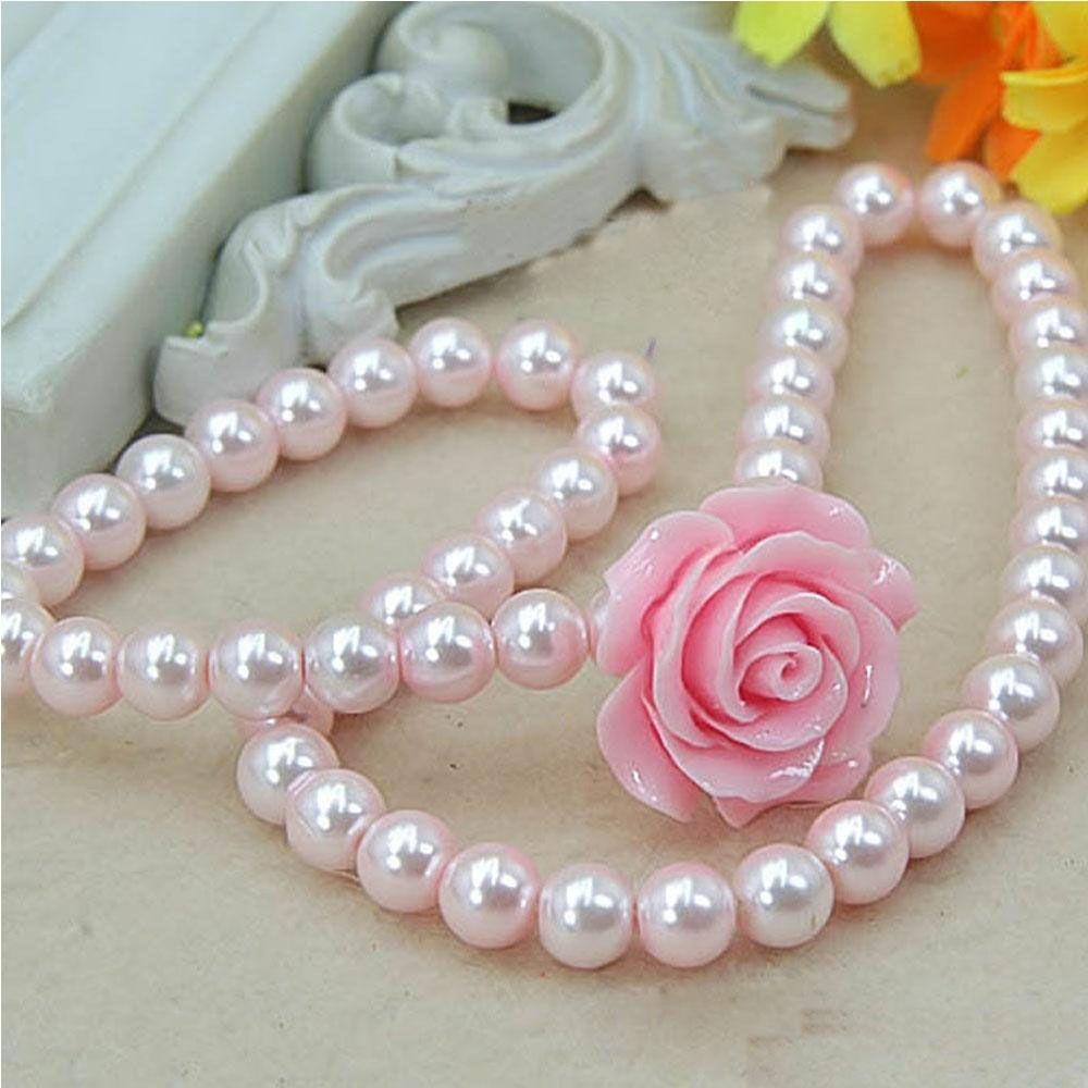 Fashion Jewelry Imitation Necklace Bracelet Ring Ear Clips Set Pearls Kids Girls Child Flower Shape Accessories