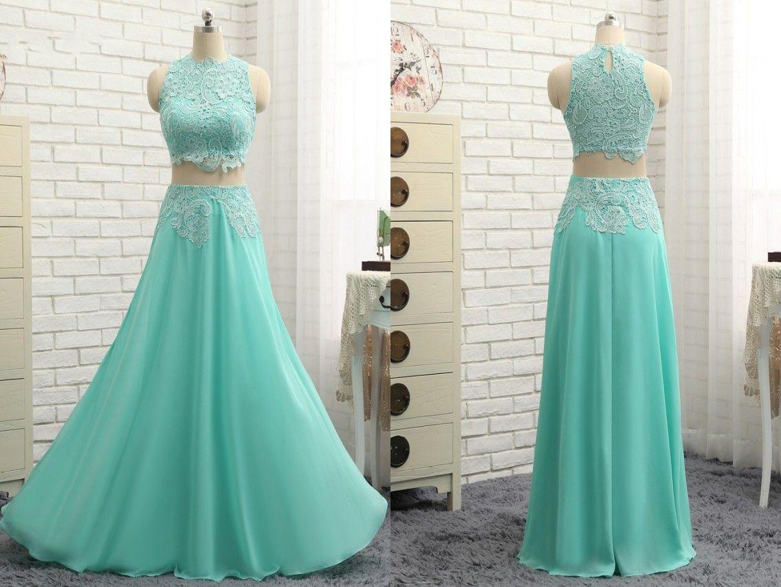 Elegant Mint Chiffon Prom Dress Long Two Pieces Jewel Neck Lace ...