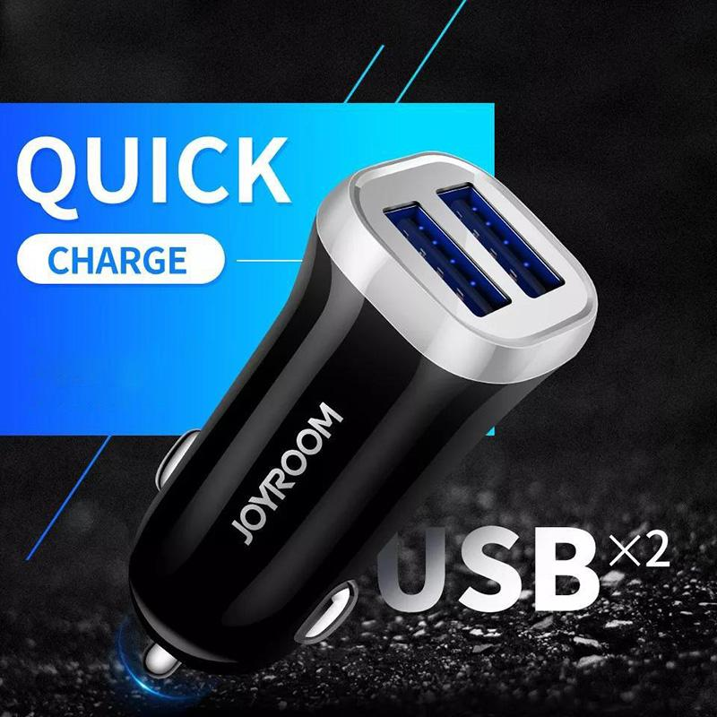 JOYROOM Dual USB Car charger with USB Cable Cell Phone Charger For Iphone X Samsung S9