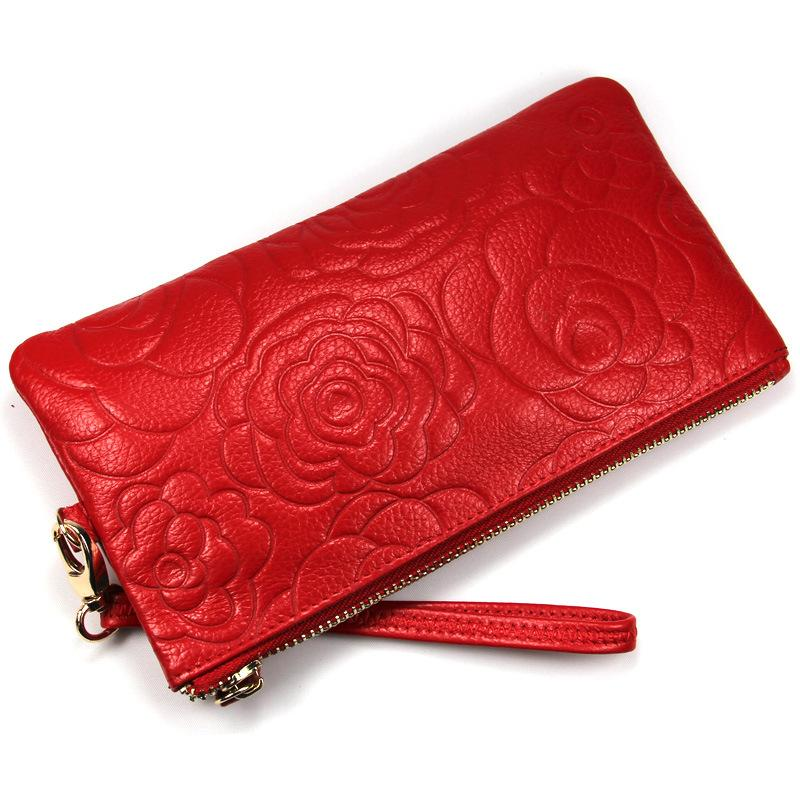 Rose Pattern Leather Clutchs, Fashion Evening Bags Coin Purse G3171