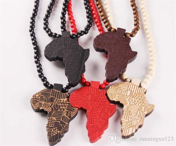 Мода дерево сделано стильный Африка карта кулон хип-хоп бусины длинная цепь мужчины деревянные подвески ожерелья ювелирные изделия подарок R106