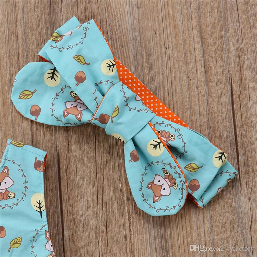 Lovely baby girls clothes cartoon fox Top+shorts+headband set outfits baby girls clothing toddler summer boutique wholesale factory