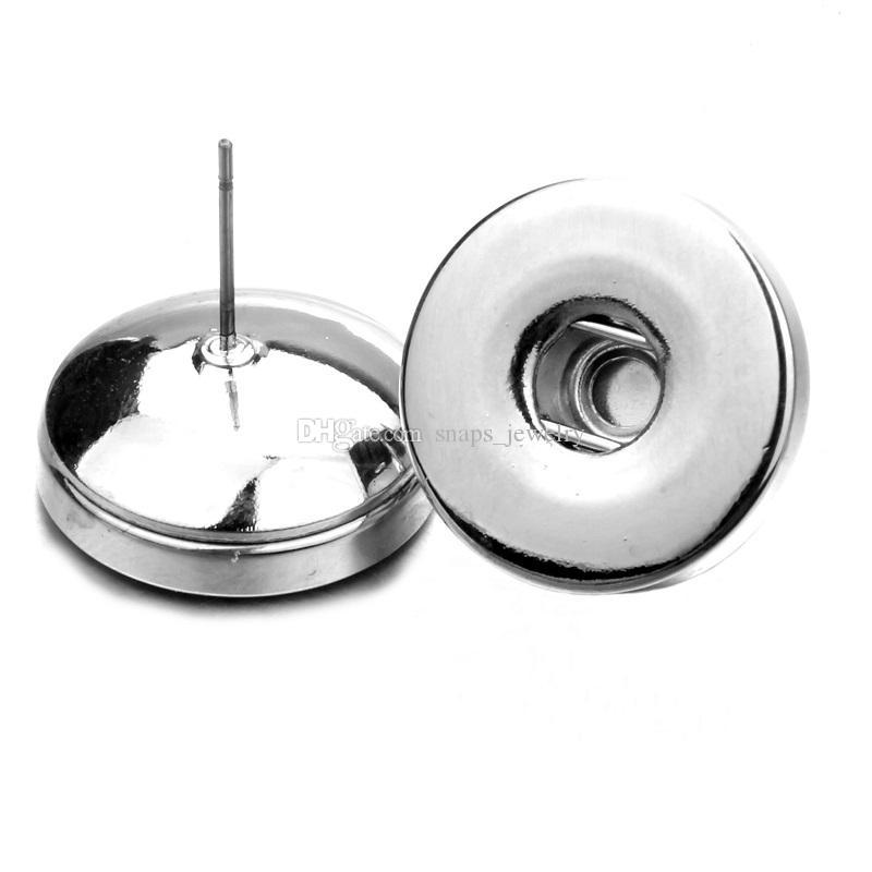 2 Stilleri Basit noosa gümüş kaplama 18mm snap düğmesi saplama küpe kadınlar için snap düğmesi takı