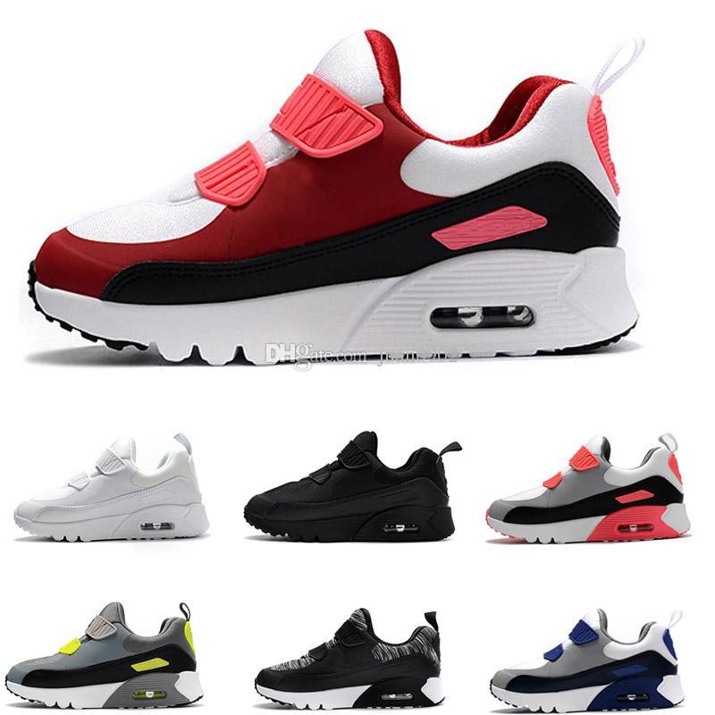 54f95c94b Купить Оптом Nike Air Max 90 Детская Обувь Увеличить Boys Girls Kanye 90  Черный Пират AIR Детская Обувь 90 Fashiion Спортивная Молодежная Кроссовки  ...
