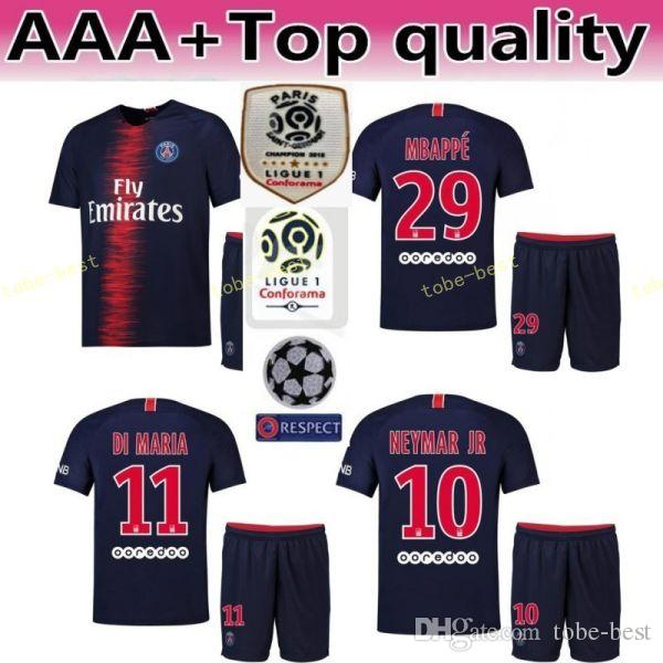 18 19 PSG FC Paris Saint Germain Soccer Jersey Set 10 NEYMAR JR 7 Kylian  Mbappe 9 Edinson Cavani Football Shirt Kits Uniform Online with   19.14 Piece on ... 2540b7ef7