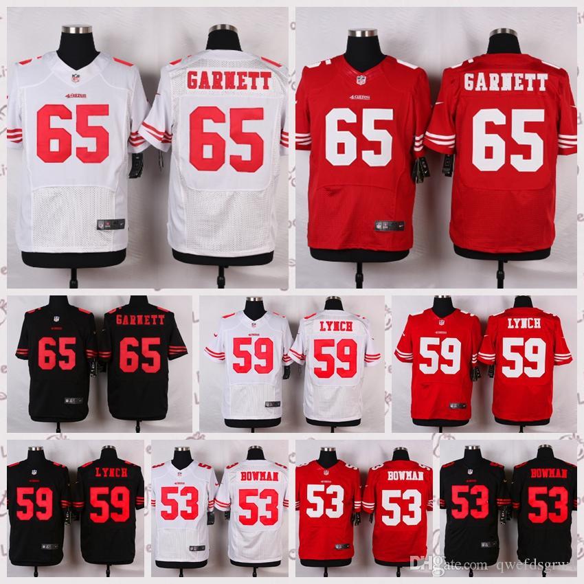 8f595db78 Men s San Francisco 49ers  65 Joshua Garnett  59 Aaron Lynch  53 NaVorro  Bowman Elite White Red Team Color Black Alternate Jersey San Francisco 49ers  Joshua ...