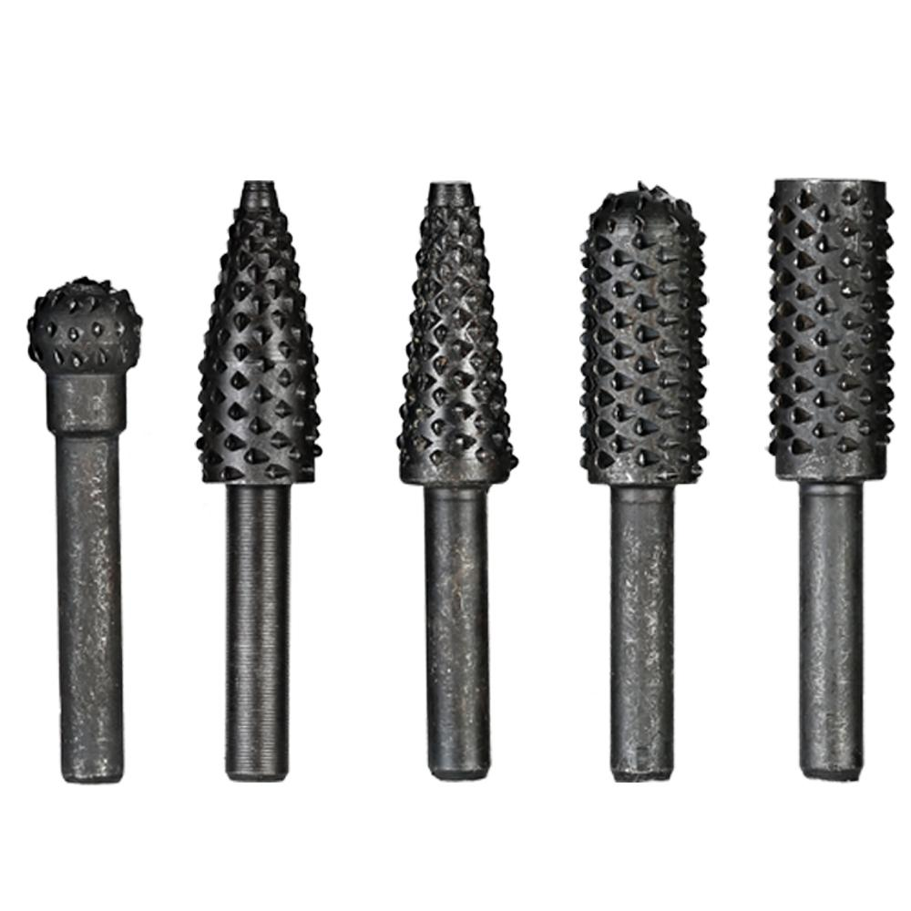 5pcs Rotary Files File Rasp Set rotary rasp For Wood Drill Rasps Burrs Electric Grinder Tree Carving Wood engraver Power Tools