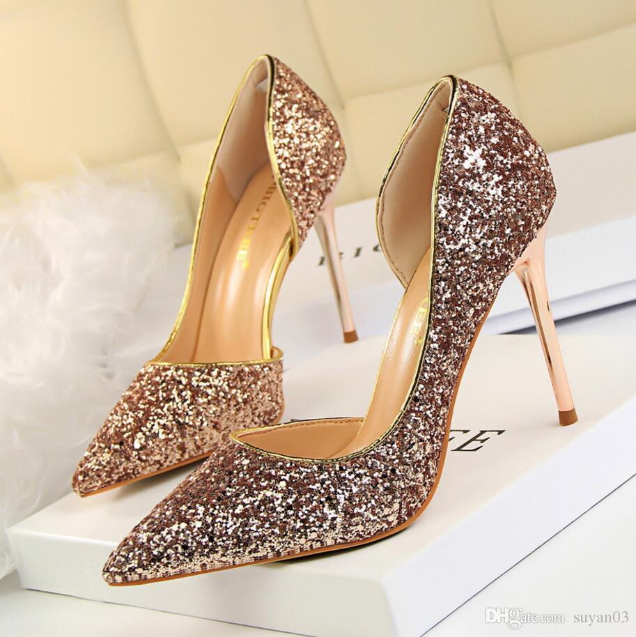 Women Pumps Bling High Heels Women Pumps Glitter High Heel Shoes Woman Sexy  Wedding Party Shoes Gold Silver Pump Shoes Wedding Flats From Suyan03 6ef942191