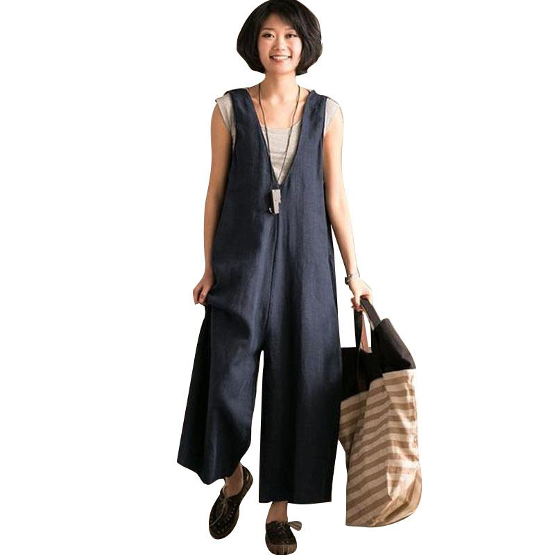 337ec206a32 2019 2018 Linen Jumpsuits Women Harem Rompers Casual Pockets Sleeveless  Backless Long Pants Loose Playsuit Plus Size Oversize Romper From Sideceam