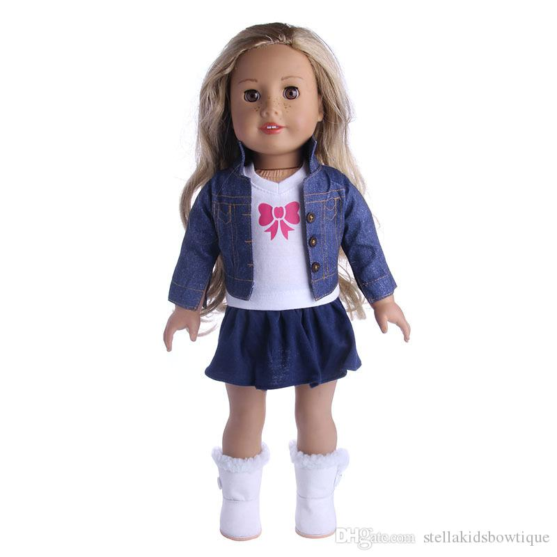 18 Inch American Girl Doll Clothes Jeans Coat and T-shirt With Skirt Baby Dolls Clothes Suit Hot Sales