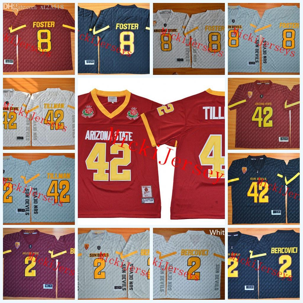 separation shoes 7f8c9 08701 Mens NCAA Arizona State Sun Devils Pat Tillman College Football Jersey  Stitched 2 Mike Bercovici 8 D.J. Foster ASU Sun Devils Jerseys S-3XL