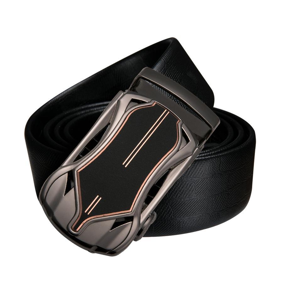 BOYOU Cintura uomo in pelle con fibbia automatica scorrevole Cintura nera per uomo