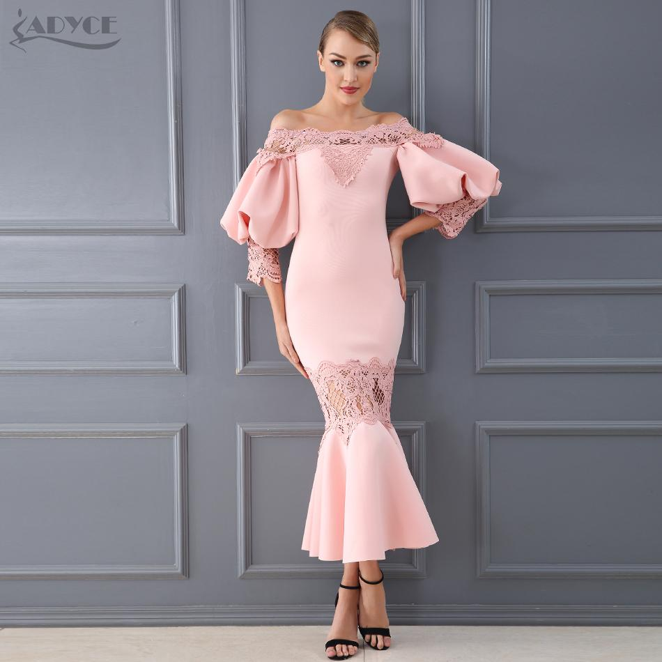 2019 Adyce 2018 New Women Dress Style Celebrity Clubwear Party Dress Sexy  Flare Sleeve Lace Hollow Out Off Shoulder Mid Vestidos From Chencloth66 998c301d5de7