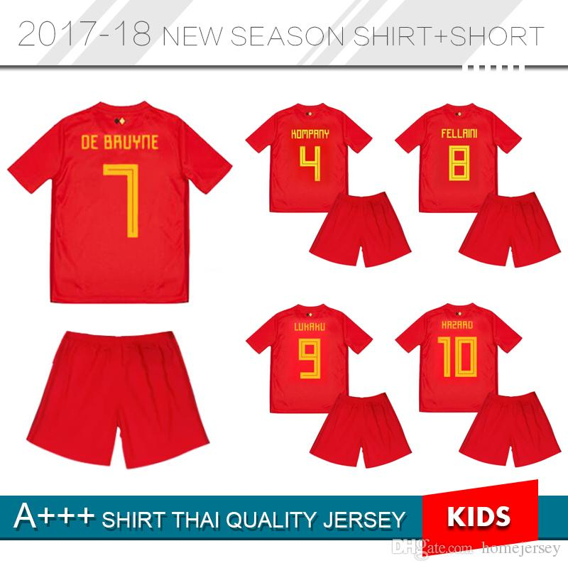 Kids Belgium 2018 World Cup Home Red Top Thailand Quality LUKAKU ... 8495a576f
