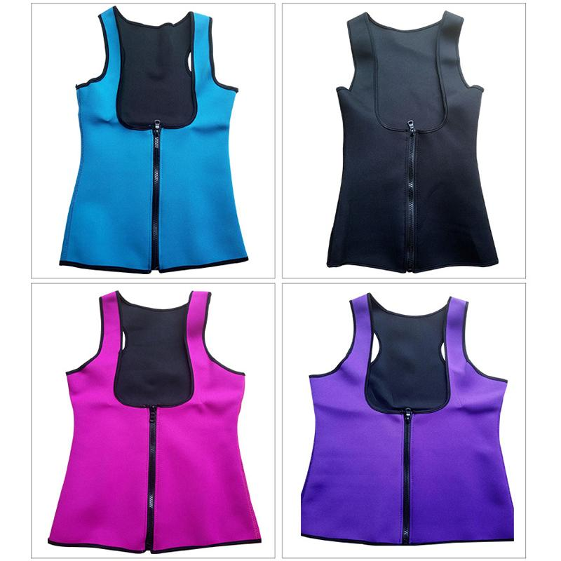 Women Hot Neoprene Body Shaper Slimming Waist Trainer Cincher Vest Female Sportswear Underbust Waist Trainer Corsets Zipper Vest
