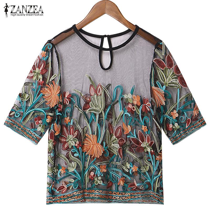 c7522455ccce9 2019 2018 Summer ZANZEA Women Tops Retro Sexy Mesh Embroidery Floral  Blouses Shirts Casual Loose Short Sleeve Oversized Blusas S 5XL From  Edward03
