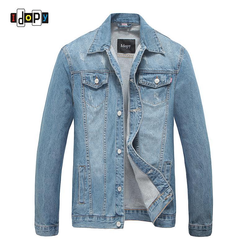 12ac7115a24eb Mens Retro Vintage Washed Denim Jacket Retro Slim Fit Ripped Jean Jacket  With Pockets Light Blue Cowboy Jackets For Men Parka Jackets Biker Jackets  From ...