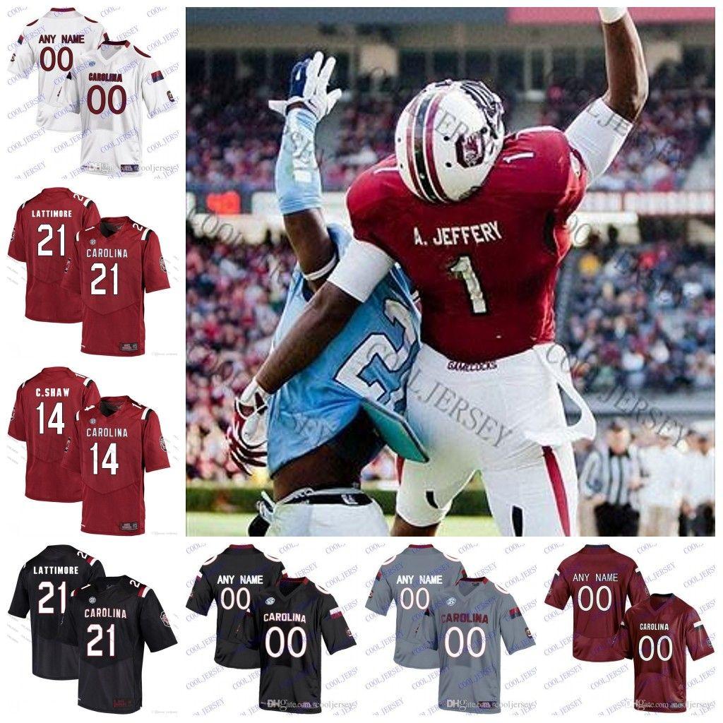 2019 NCAA South Carolina Gamecocks College Football  1 Alshon Jeffery  7  Jamarcus King 6 T.J. Brunson 21 Jamyest Williams Black Red White Jersey  From ... 352b15086