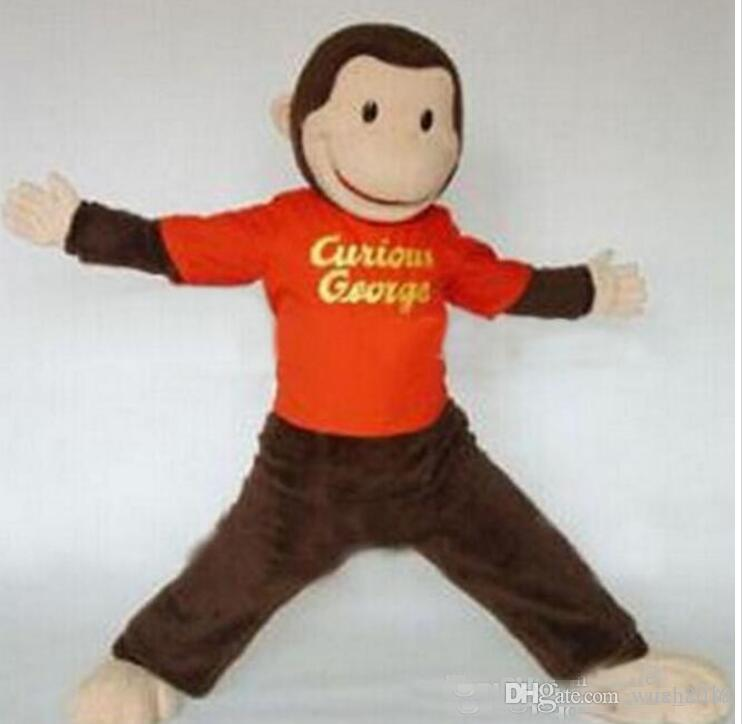 adult size cartoon curious george monkey mascot costume mascot halloween costume christmas crazy sale character mascot halloween mascot from wuxh2019
