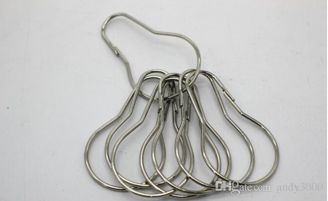 New Stainless steel Chrome Plated Shower Bath Bathroom Curtain Rings Clip Easy Glide Hooks Fedex